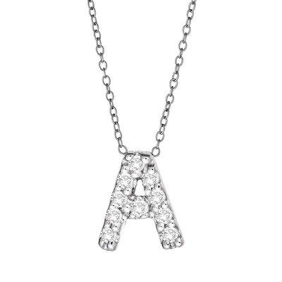 Maya J Jewelry E'' Silver and Diamond Initial Necklace