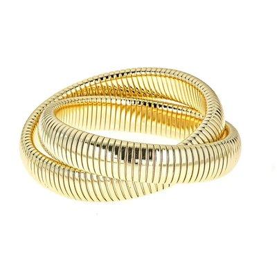 Maya J Jewelry Brass 2 Ring Rolling Bracelet- Yellow