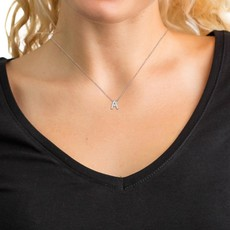 Maya J Jewelry E'' Silver and Diamond Initial Necklace