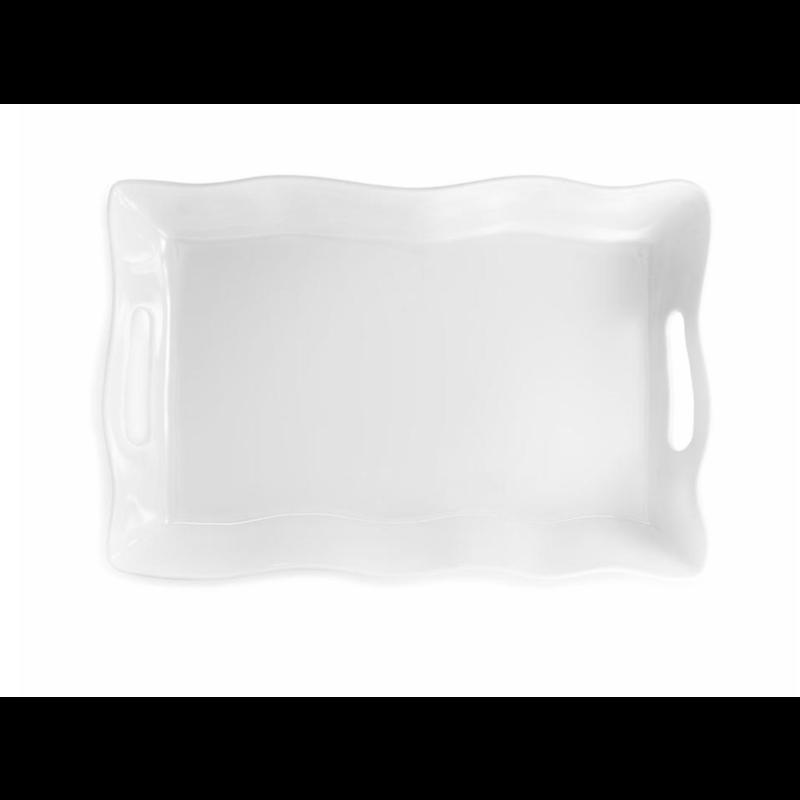 Q Squared Ruffle 18'' X 12'' Rectangle Serving Platter
