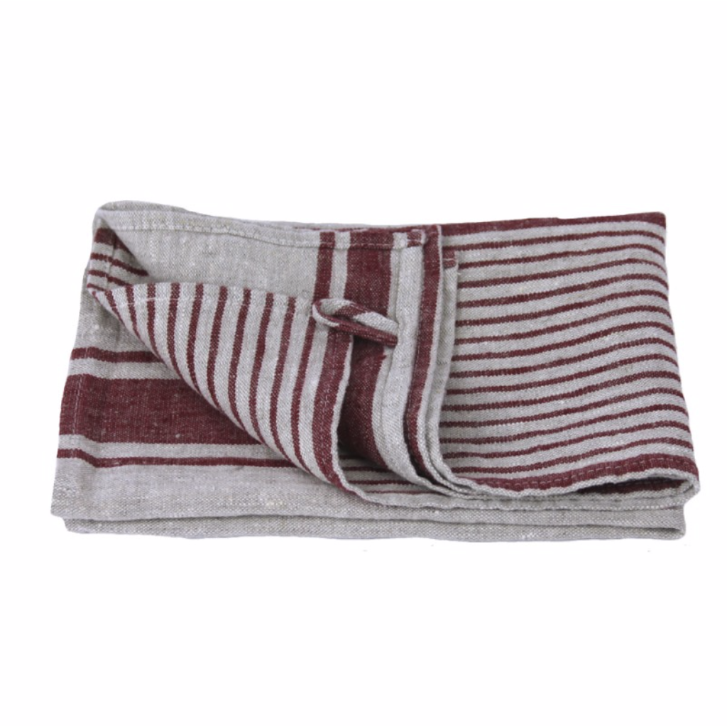 LinenCasa Linen Hand Towel- Stonewashed- Grey with Bordeaux Stripes II