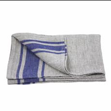 LinenCasa Linen Hand Towel- Stonewashed- Grey with Cornflower Blue Stripes