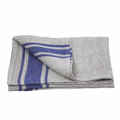LinenCasa Linen Hand Towel- Stonewashed- Grey with Cornflower Blue Stripes