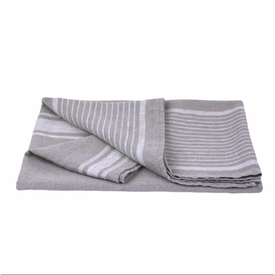 LinenCasa Linen Bath Towel- Stonewashed- Natural with White Stripes