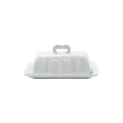 Vietri INCANTO STONE WHITE BAROQUE BUTTER DISH