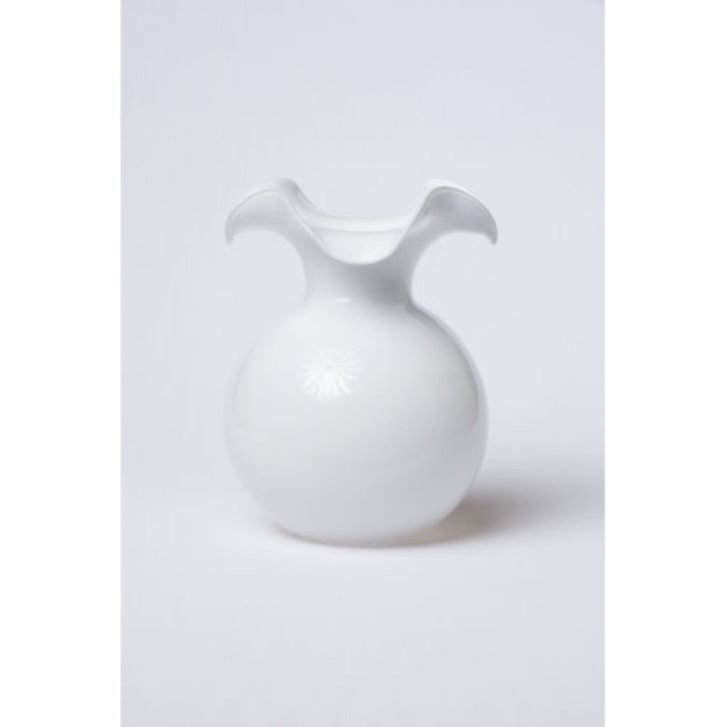 Vietri HIBISCUS GLASS WHITE LARGE FLUTED VASE