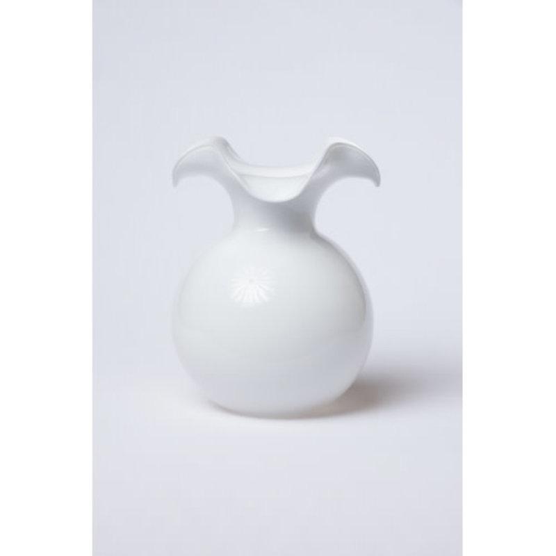 Vietri HIBISCUS GLASS WHITE LARGE FLUTED VASE