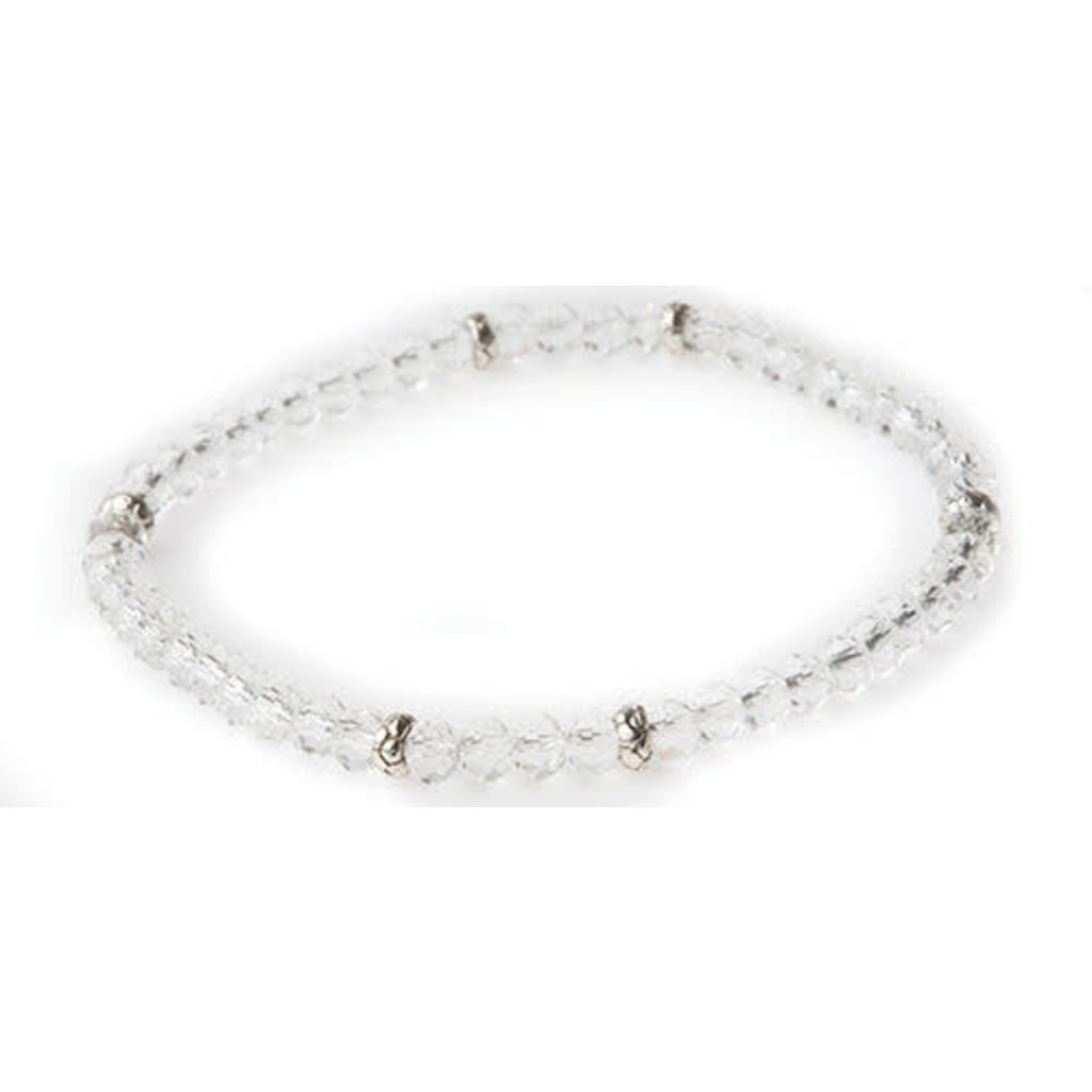 My Fun Colors Mini Crystal Bracelet - Clear Crystal AB Crystal / Silver Accent