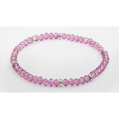 My Fun Colors Mini Crystal Bracelet - Raspberry Crystal / Silver Accent