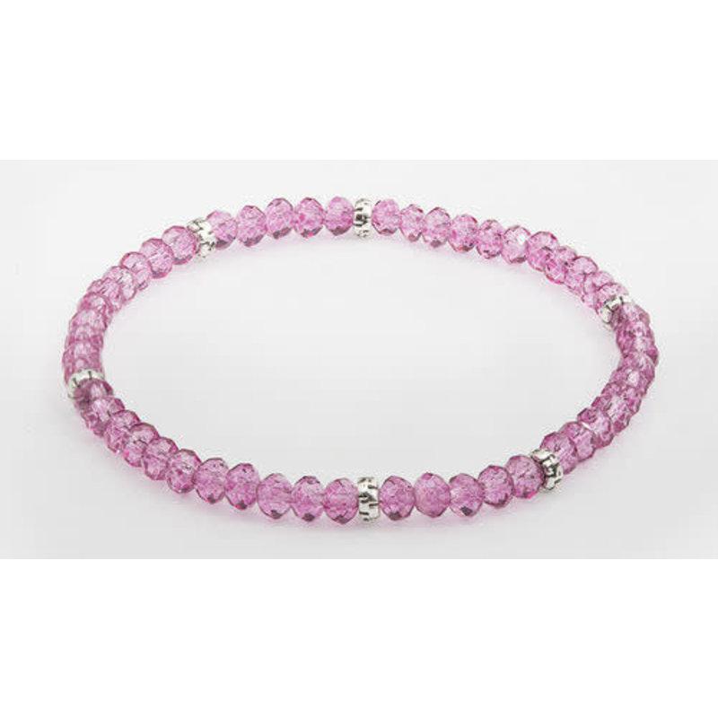 My Fun Colors Mini Crystal Bracelet - Raspberry Crystal / Silver Accent