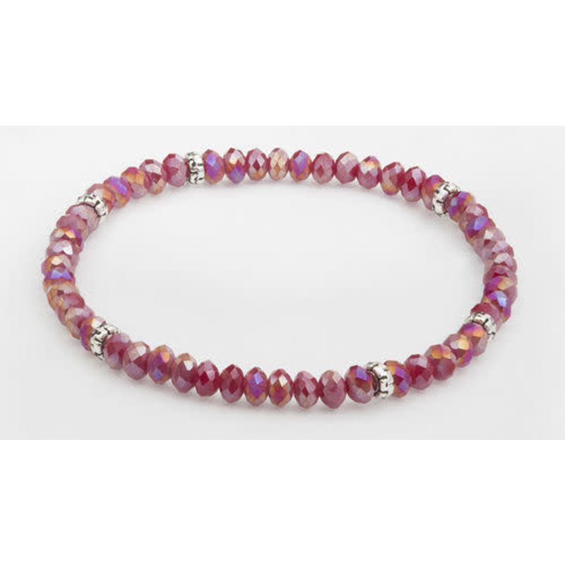 My Fun Colors Mini Crystal Bracelet - Cranberry AB Crystal / Silver Accent