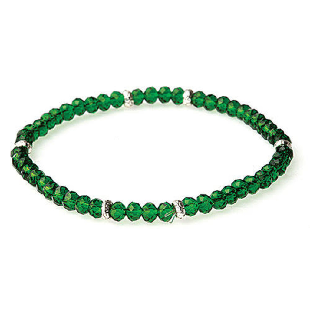 My Fun Colors Mini Crystal Bracelet - Forest Green/Emerald Crystal / Silver Accent