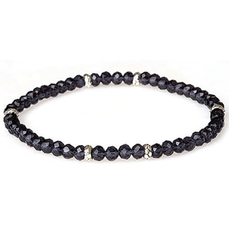 My Fun Colors Mini Crystal Bracelet - Indigo / Silver Accent