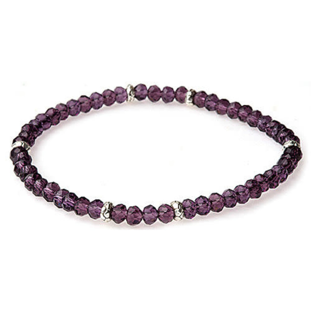 My Fun Colors Mini Crystal Bracelet - Amethyst Crystal / Silver Accent