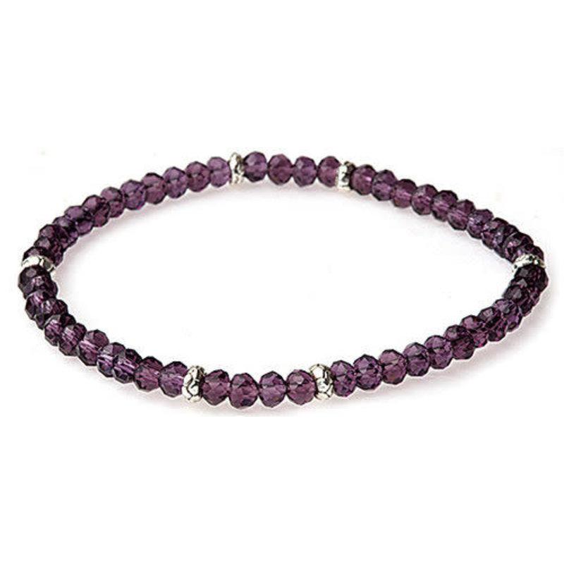 My Fun Colors Mini Crystal Bracelet - Amethyst Crystal / Silver Accent
