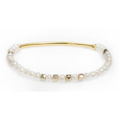 My Fun Colors White Pearl Stretch Bracelet / Gold Accent