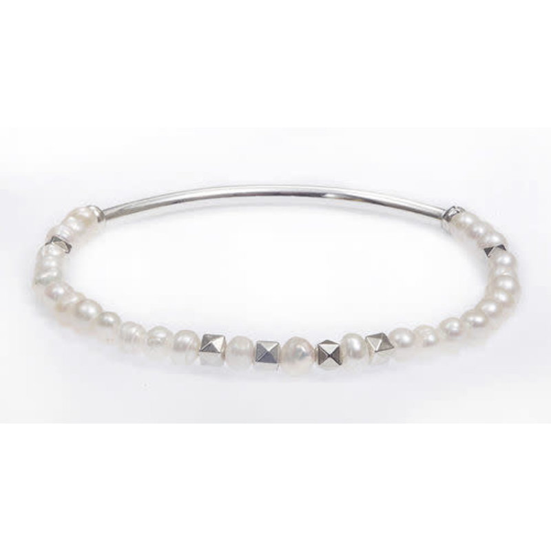 My Fun Colors White Pearl Stretch Bracelet / Silver Accent