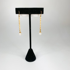 Catherine Canino Elongated Brancusi Column Ear Wire White Pearl