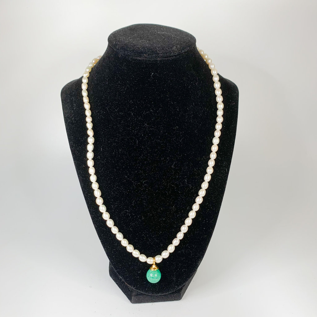 Catherine Canino Catherine Canino white freshwater pearl triple wrap stretchy bracelet or 19'' necklace with malachite flower petal