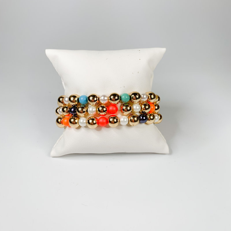 Catherine Canino Rainbow stretchy gold bead bracelet