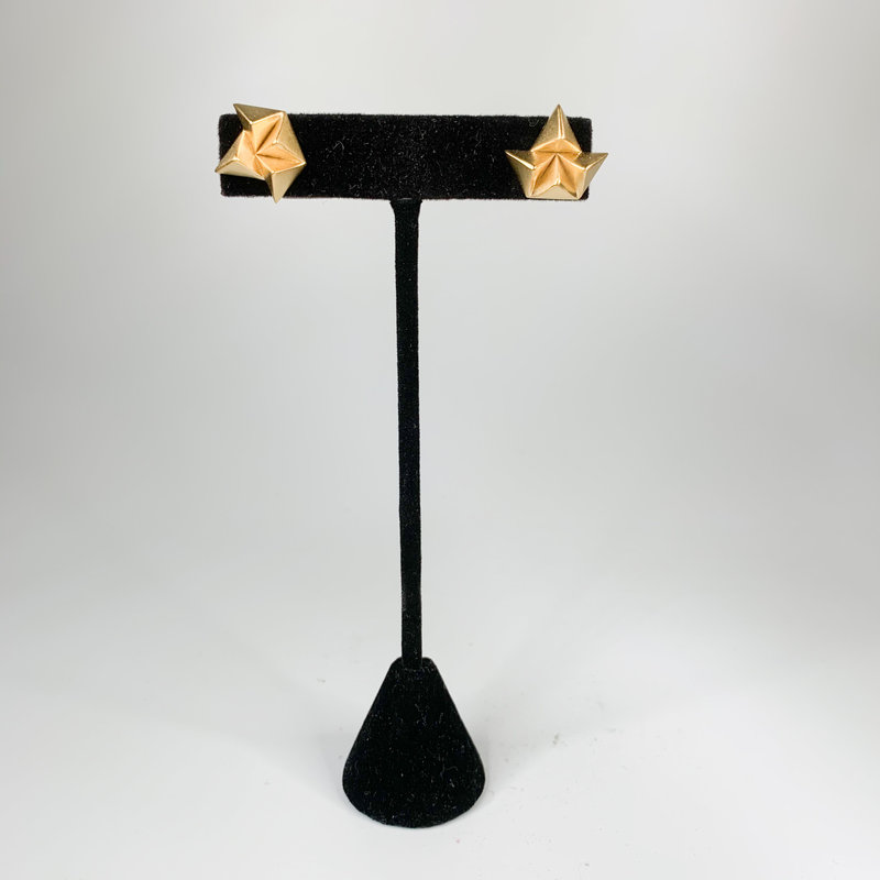 Catherine Canino Small pyramid post earrings gold over brass
