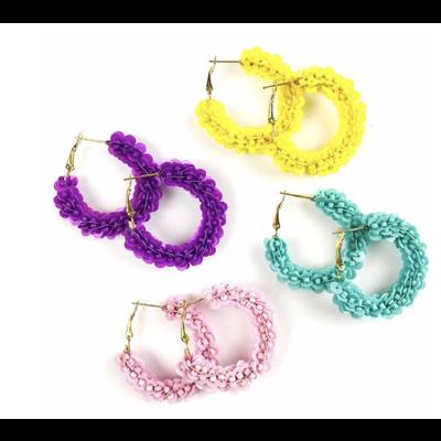 Allie Beads Carmen Hoops Purple