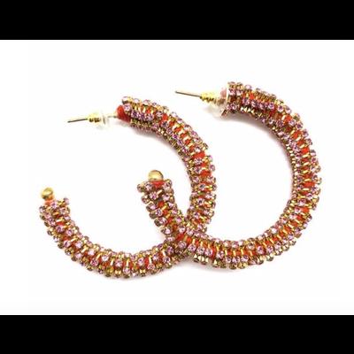 Allie Beads Rhinestone Hoop Earrings Pink