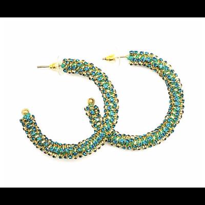 Allie Beads Rhinestone Hoop Earrings Turquoise