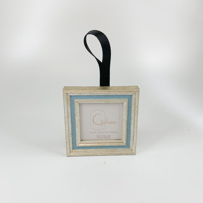 Galassi Silver with Blue Channel Ornament Black Ribbon