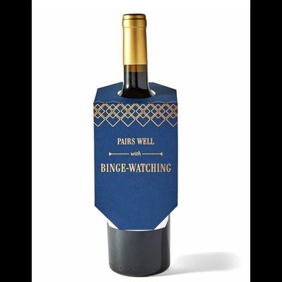 Color Box Letterpress Binge Watching Wine Tag