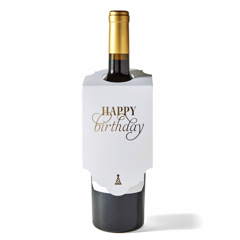 Color Box Letterpress Happy Birthday Wine Tag