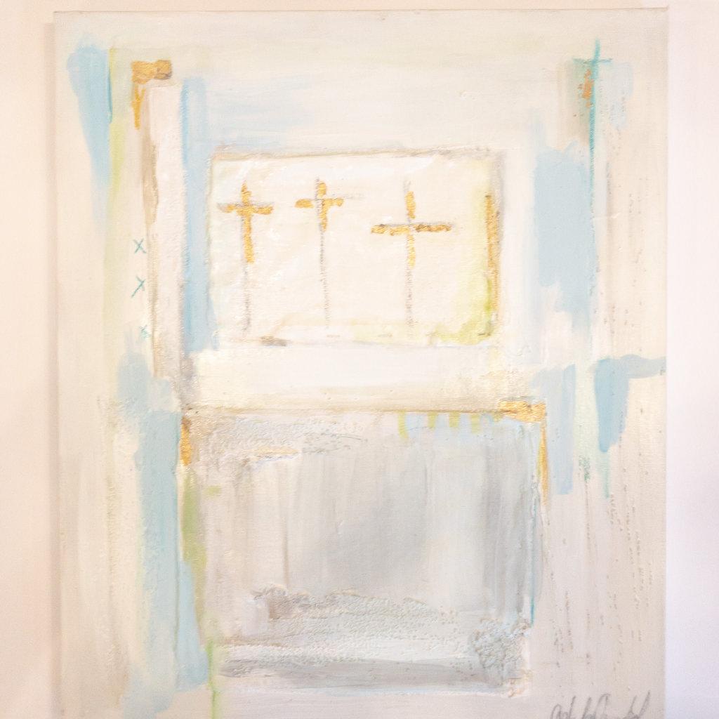 Ashley Addison Ashley Addison Blue/Grey/Green Abstract with Gold Leaf Crosses 20x24