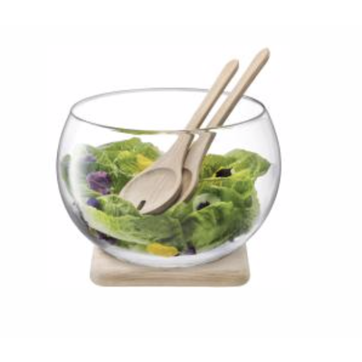 LSA Serve Salad Set & Oak Base 10.75 in Clear