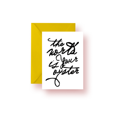 Katie Kime The World is Your Oyster Script Greeting Card Set (4)