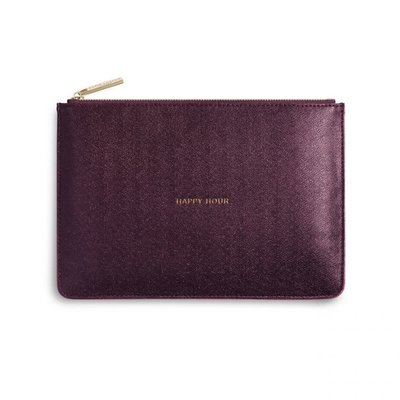 Katie Loxton PERFECT POUCH - HAPPY HOUR - burgundy shimmer - 16x24cm