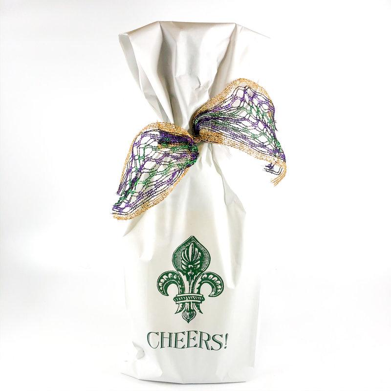 Maison de Papier Fleur de Lis Wine Bag Green