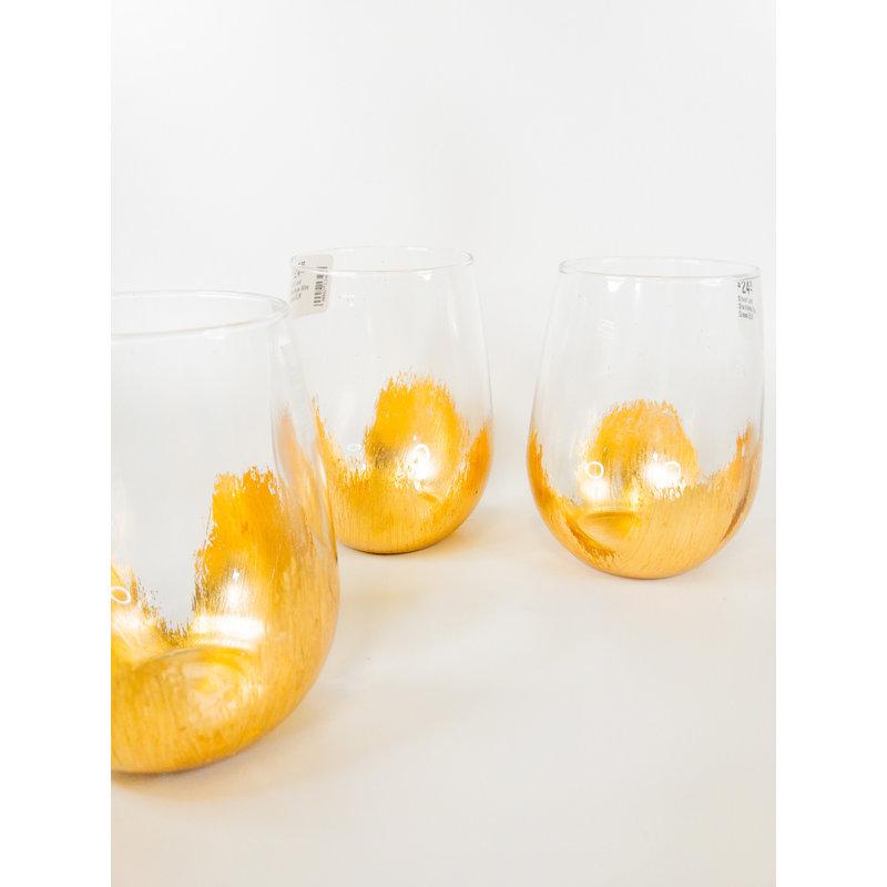 ELM Designs Gold Leaf Stemless Wine Glass ELM
