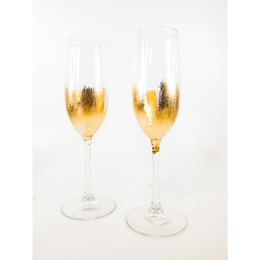 ELM Designs Gold Leaf Champagne Glass ELM
