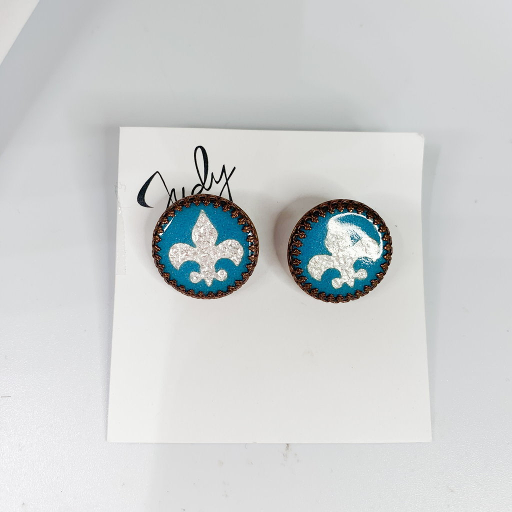 Catherine DeYoung Enamels French Blue & Bronze/Sterline Fleur De Lis Cuff Links