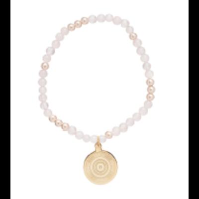 E Newton Worthy Pattern 4mm Bead Bracelet - Athena Small Gold Charm - Rose Quartz