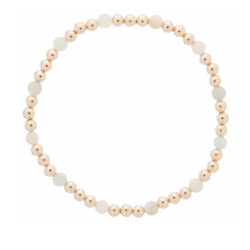 E Newton Gold Sincerity Pattern 4mm Bead Bracelet - Aquamarine