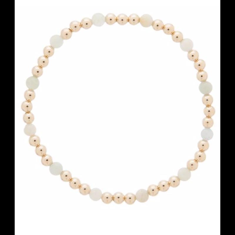 E Newton Gold Sincerity Pattern 4mm Bead Bracelet - Aquamarine