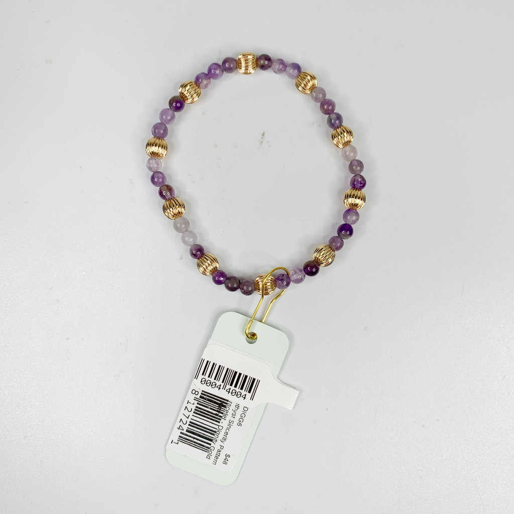 E Newton DOGTOOTH AMETHYST SINCERITY PATTERN 4MM BEAD BRACELET - DIGNITY GOLD 6MM