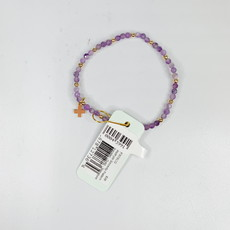 E Newton DOGTOOTH AMETHYST SINCERITY PATTERN 3MM BEAD BRACELET - GOLD - SIGNATURE CROSS GOLD CHARM
