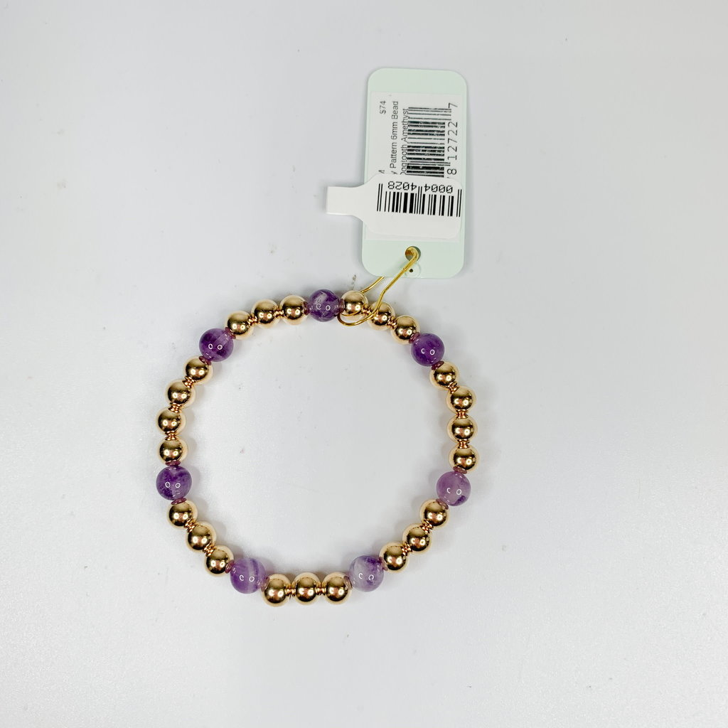E Newton GOLD SINCERITY PATTERN 6MM BEAD BRACELET - DOGTOOTH AMETHYST
