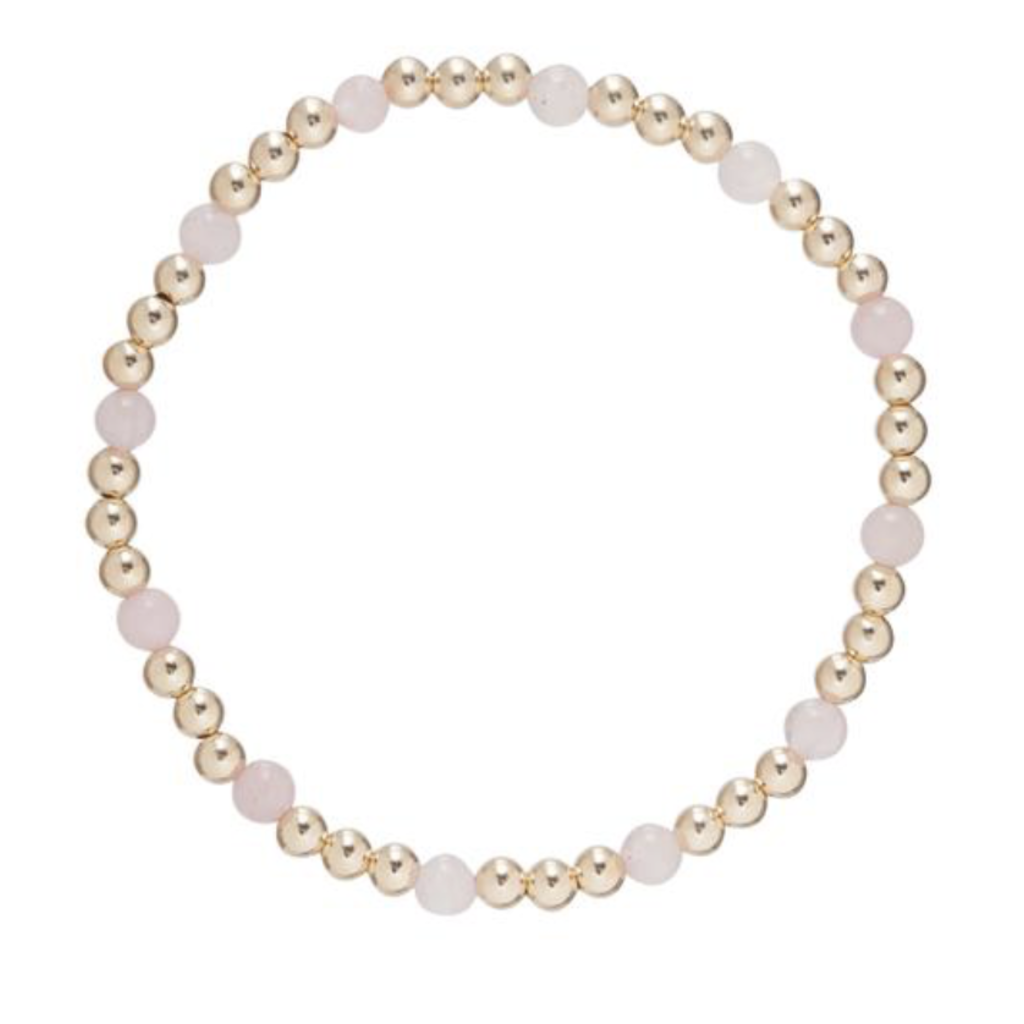 E Newton Gold Sincerity Pattern 4mm Bead Bracelet - Rose Quartz