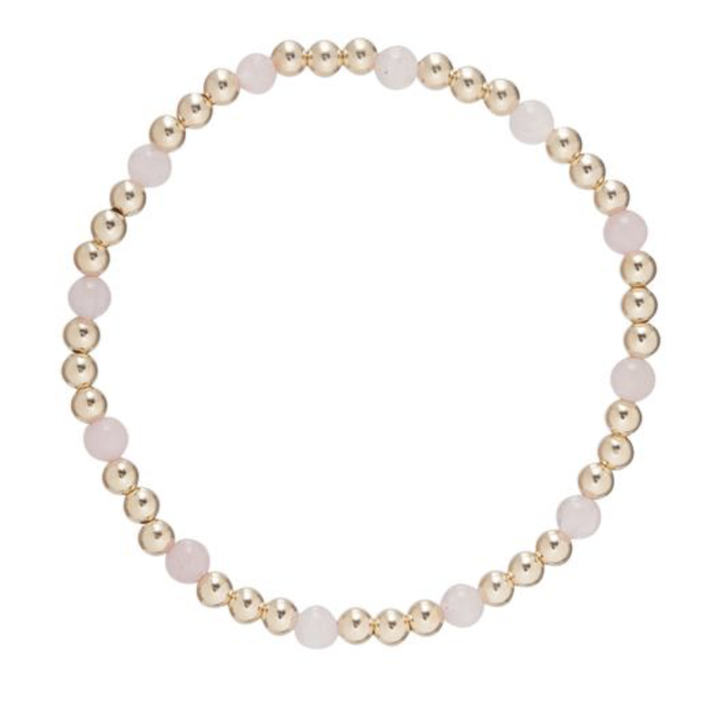 E Newton Gold Sincerity Pattern 4mm Bead Bracelet - Rose Quartz