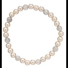 E Newton Gold Sincerity Pattern 6mm Bead Bracelet - Labradorite