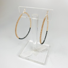 E Newton GOLD BLISS 1.75'' HOOP - FACETED HEMATITE