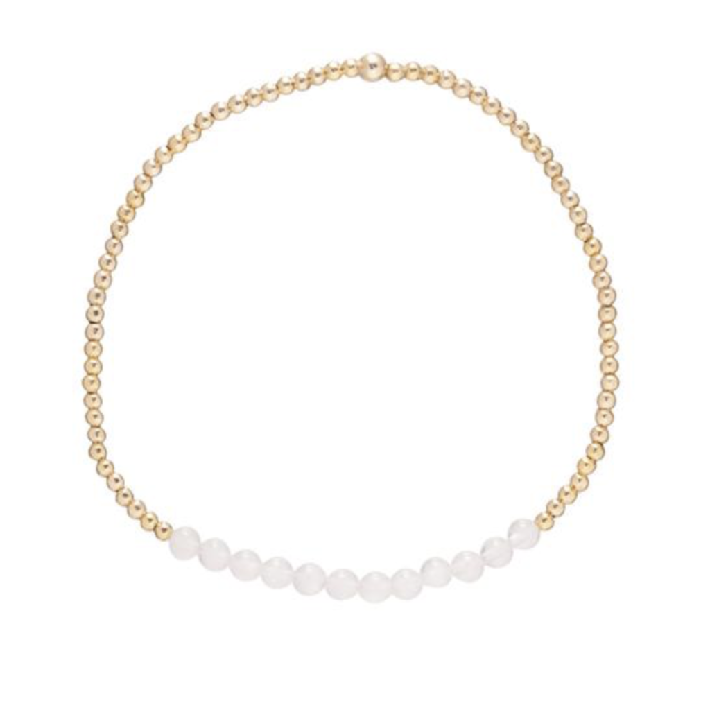 E Newton Gold Bliss 2mm Bead Bracelet - Rose Quartz